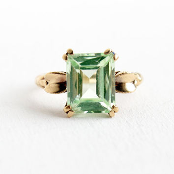 Vintage 10k Yellow Rose Gold Art Deco Simulated Peridot Ring - 1940s Size 6 1/2 Emerald Cut Light Green Synthetic Spinel Fine Jewelry