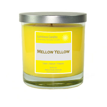 Soy Candle - Mellow Yellow Scented - 8 oz Rock Glass Jar Candle with Brushed Metal Lid