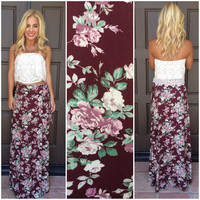 See You Bloom Tied Front Maxi Skirt - BURGUNDY