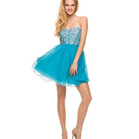 Turquoise Tulle Rhinestone Strapless Lace Up Dress 2015 Prom Dresses