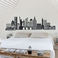 New York Wall Art City Decals Vinyl Decal Stickers Home Decor Interior Design Bedroom Room Murals Ah152