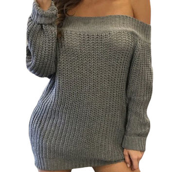 Gray Off Shoulder Shredded Back Sweater Dress