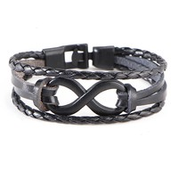 Vintage Punk Infinity Friendship Bracelet with Clasp - 3 Color Options