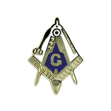 Freemasonic Square amp Compass Working Tools Blue White Gold Lapel Pin  1quot Tall