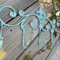 "Shabby Robin's Egg Blue (or any color) Distressed Wall Decor, Multi Hook Fleur de Lis Hanging Rack-16.5"" x 9"""