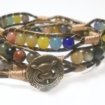Triple Wrap Bead Bracelet Leather Wrap Multi Color Bracelet