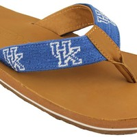 University of Kentucky Needle Point Flip Flops in Tan Leather by Smathers & Branson
