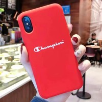 Champion Fashion New Letter Print Women Men Phone Case Protective Case Red