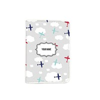 Airplane Travel [Name Customized] Leather Passport Cover - Vintage Passport Wallet - Travel Accessory Gift - Travel Wallet for Women and Men _Mishkaa