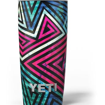 Grungy Neon Triangular Zig Zag Shapes Yeti Rambler Skin Kit