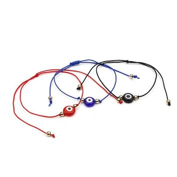 1 PC Top Selling Simple Design Lucky Evil Eye Charms Black Blue Red Rope String Bracelet For Women Men As Gift