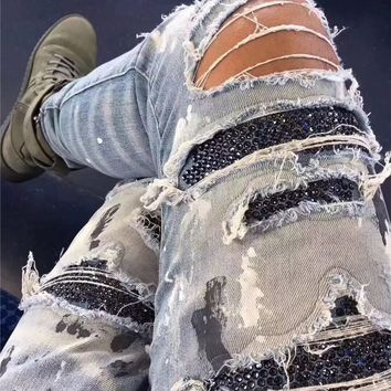 Skinny Fit Sequin Patched Denim Jeans Distressed Stretch Biker Jeans Kanye West Knee slit Paint Splatter Jeans High Quality