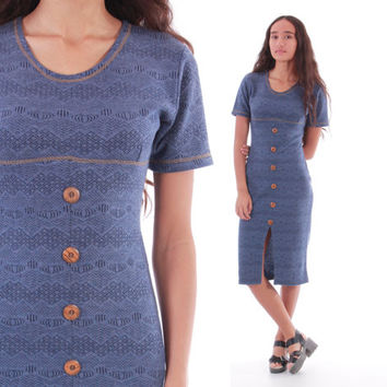 Blue Bodycon Midi Dress Lace Printed Denim Like Button Front Boho Hipster 90s Vintage Clothing Womens Size Small