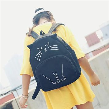 Student Backpack Children Miyahouse New Backpack Funny Personality Cartoon Cats Design Backpack Girls Korean Casual Small Travel Bag Student Backpack AT_49_3