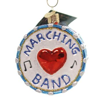 Old World Christmas MARCHING BAND Glass Ornament Drum School Spirit 38052