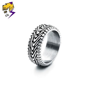 Vintage Punk Motorcycle Tire Rings for Men Antique Silver Stainless Steel Grooved Tread Ring for Women Steampunk Biker Jewelry