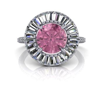 Pink Tourmaline and Diamond Halo Engagement Ring 2.46 CTW