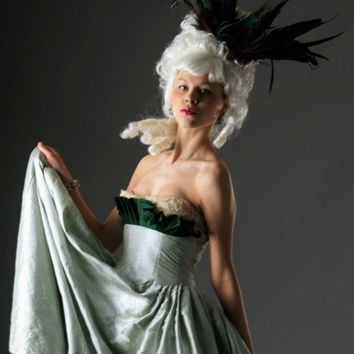Curiouser and Curiouser Green Silk Evening Gown by CuriouslyAlice