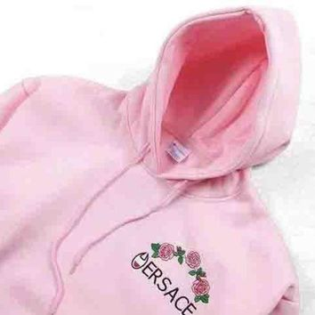 Versace X Champion Trending Casual Flower Rose Embroidered Sweater Hoodie Pullover Pink