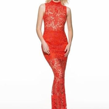 Hollow Red Lace Mermaid Women's Maxi Dress