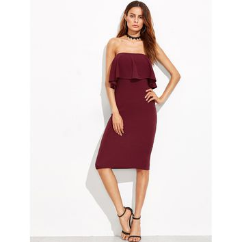 Burgundy Flounce Bandeau Pencil Dress