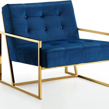 Pierre Gold Accent Chair Navy Blue Velvet
