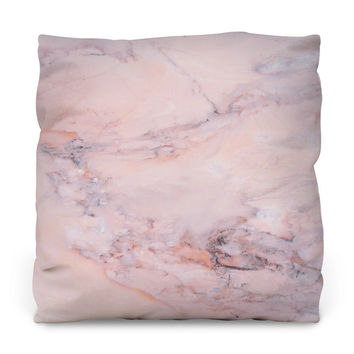 Blush Marble Throw Pillow