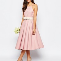 Chi Chi London High Neck Midi Prom Dress with Full Skirt