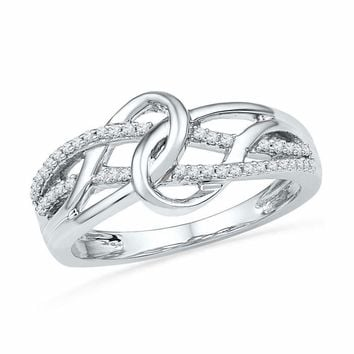 10kt White Gold Women's Round Diamond Infinity Loop Knot Lasso Ring 1/6 Cttw - FREE Shipping (US/CAN)
