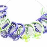 Large Sock stitch markers | Lace stitch marker | Snagless stitchmarker | Knitting gift | purple, green rings; matching beads | #0526