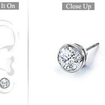 Mens 14K White Gold : Bezel-Set Round Diamond Stud Earrings 0.75 CT. TW.