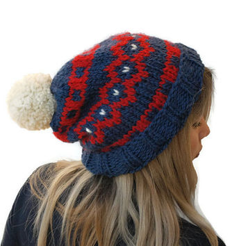 Knit fair isle hat, knit pom pom hat,  Hand Knit Beanie, Blue - Red - Cream beanie, chunky woman hat, wool hat, winter accessory, warm hat