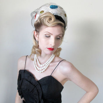 1960's Vintage Hat, Feather, RARE Pill Box, Petals, Couture, WEDDING, Birdcage veil, Velvet