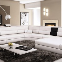 Divani Casa Polaris Contemporary White Bonded Leather Sectional Sofa