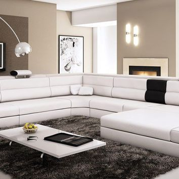 Divani Casa Polaris - Contemporary White Bonded Leather Sectional Sofa