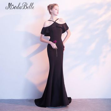 modabelle Black Off The Shoulder Long Prom Dresses Spaghetti Straps Mermaid Backless Evening Gown Formal Dress Long Party 2018
