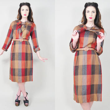 VINTAGE 50s sienna russet plaid print tie shawl collar button back mad men pinup retro midi dress