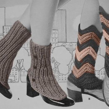 Vintage Spats Pattern Women Crochet & Knit Pattern Boot Covers leg warmers PDF Instant Download knitting supplies epsteam knitting pattern
