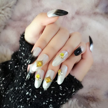 Long Round Fake Nails Pearl White False Nail Tips Black French Nails Full Wrap Party Press On Nails Z286