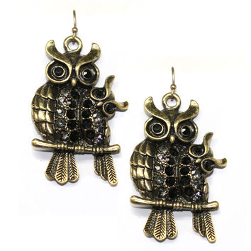 black mama and baby owl earrings