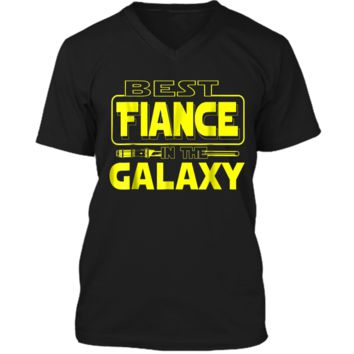 Best Fiance In The Galaxy Funny Boyfriend Girlfriend T Shirt Mens Printed V-Neck T