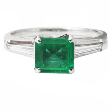 14K White gold 3-stone Emerald ring with 2 Taper Baguettes diamonds