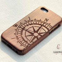 Wood phone cases,wood iPhone 5c case, Wooded iPhone 5C Case, iPhone5C Case wood ,iphone4,iphone5,iphone5c case,Engraving Compass case,Gift