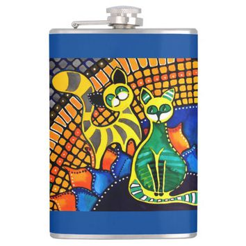 Cheer Up My Friend Colorful Rainbow Cat Design Hip Flask