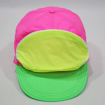 Cap Sac Adjustable Cap with Pocket Tri-Color - Pink/Yellow/Green