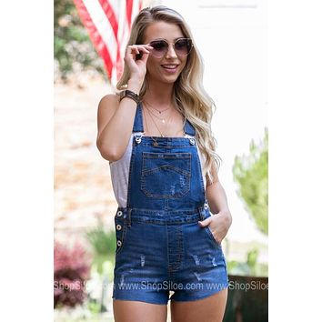 Short Distressed Denim Overalls