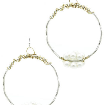 Loop Pearl Cluster Wraparound Wire Earrings Silver