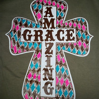 Southern Chics Funny Amazing Grace Cross Christian Girlie Bright T Shirt