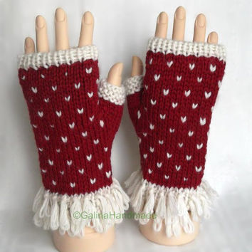 Christmas Santa Knit Cabled Fingerless Gloves  Wrist Warmers Red White Xmas Gift Idea