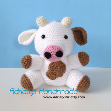 Crochet Brown Spotted Cow- Stuffed Cow- Cow Plush- Farm Animals- Barn Animals- Handmade Cow- Crochet Toy- Cow Amigurumi- Made to Order